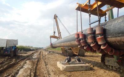 Gasdotto in acciaio DN 42″ in parallelo a portapolifera DN 8″
